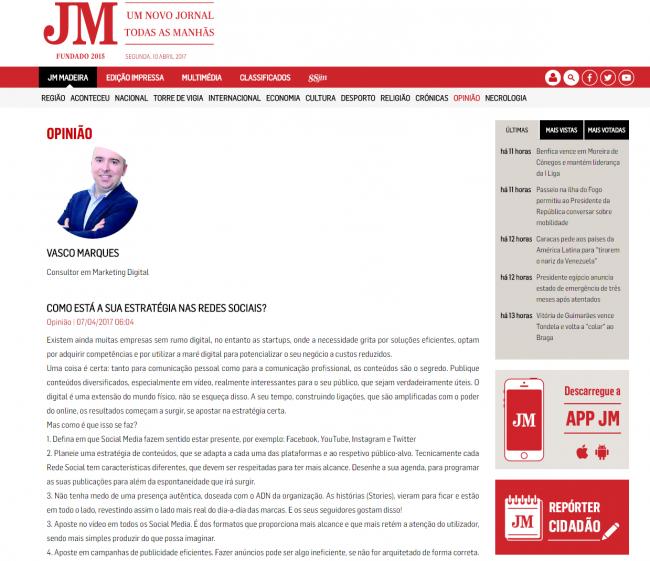 opiniao vasco marques JOM madeira redes sociais